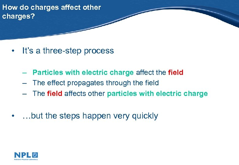How do charges affect other charges? • It's a three-step process – Particles with