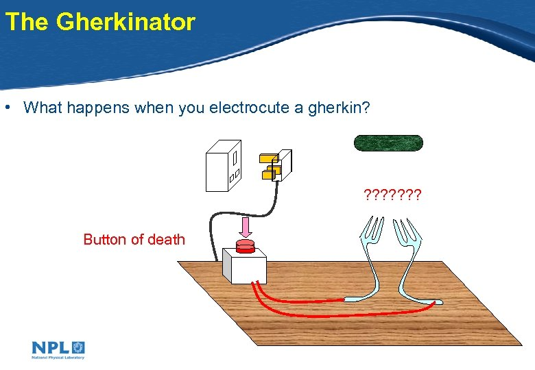 The Gherkinator • What happens when you electrocute a gherkin? ? ? ? ?