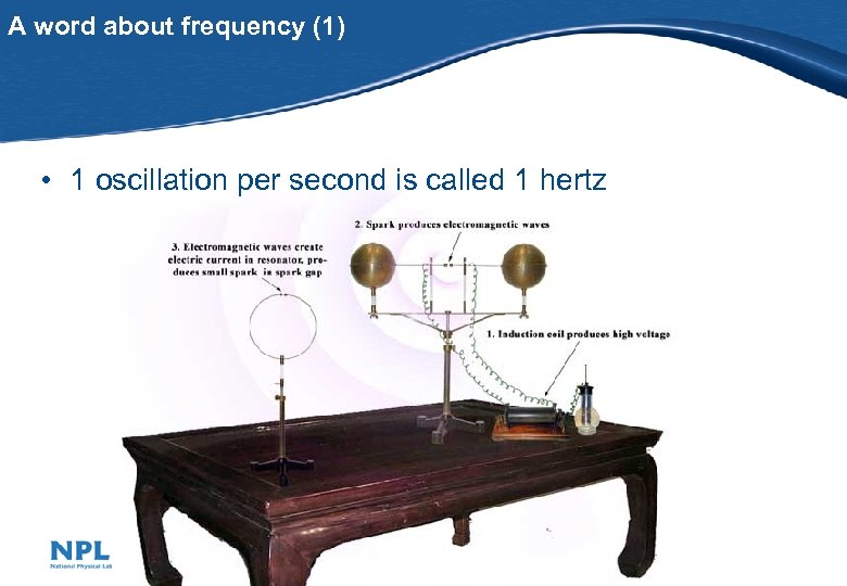 A word about frequency (1) • 1 oscillation per second is called 1 hertz