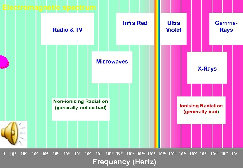 Electromagnetic spectrum Infra Red Radio & TV Ultra Violet Gamma. Rays Microwaves X-Rays Non-ionising