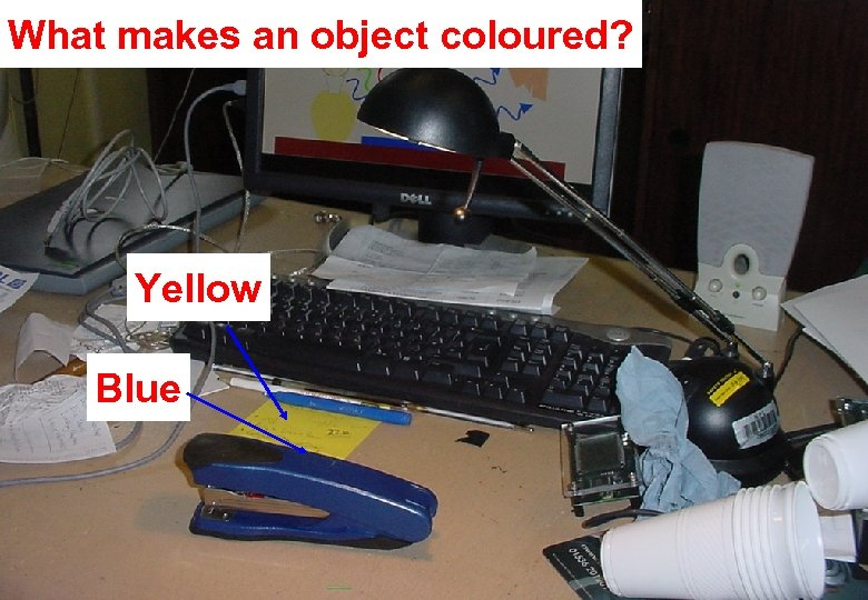 What makes an object coloured? Yellow Blue