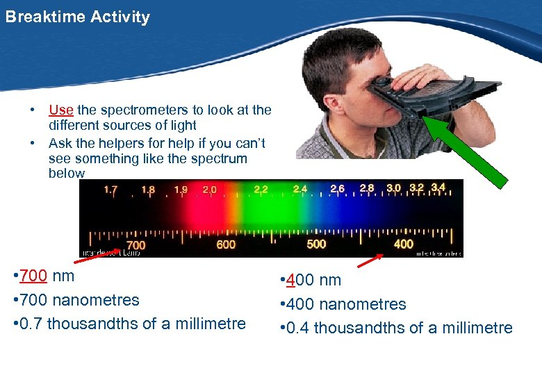 Breaktime Activity • Use the spectrometers to look at the different sources of light