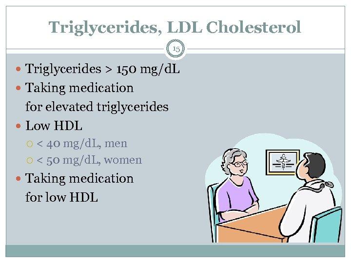 Triglycerides, LDL Cholesterol 15 Triglycerides > 150 mg/d. L Taking medication for elevated triglycerides