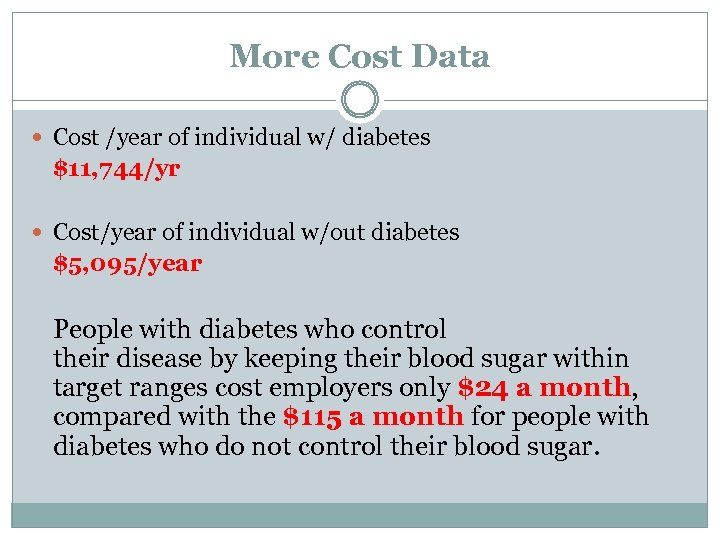 More Cost Data Cost /year of individual w/ diabetes $11, 744/yr Cost/year of individual