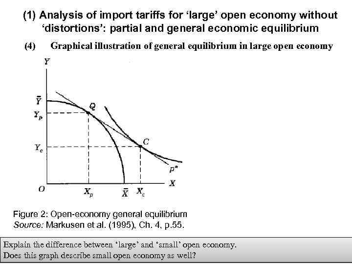 (1) Analysis of import tariffs for 'large' open economy without 'distortions': partial and general