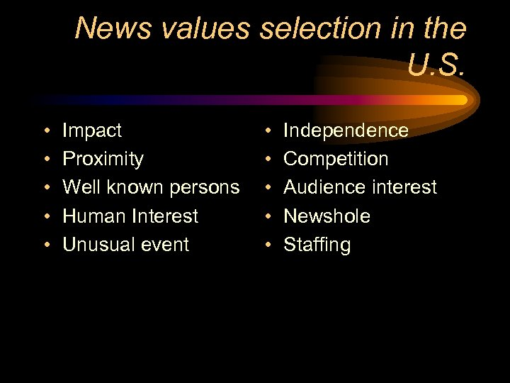 News values selection in the U. S. • • • Impact Proximity Well known