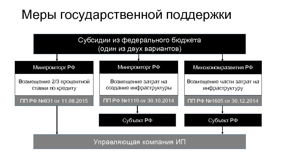 Меры государственной поддержки Субсидии из федерального бюджета (один из двух вариантов) Минпромторг РФ Минэкономразвития