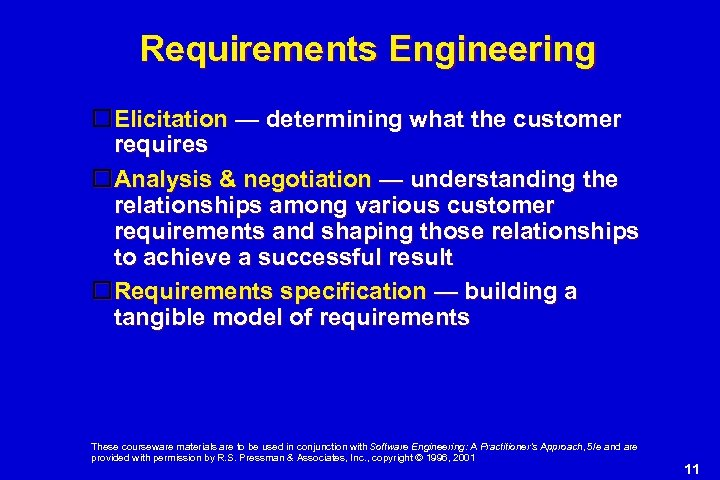 Requirements Engineering Elicitation — determining what the customer requires Analysis & negotiation — understanding