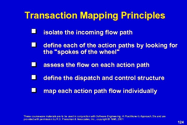 Transaction Mapping Principles isolate the incoming flow path define each of the action paths