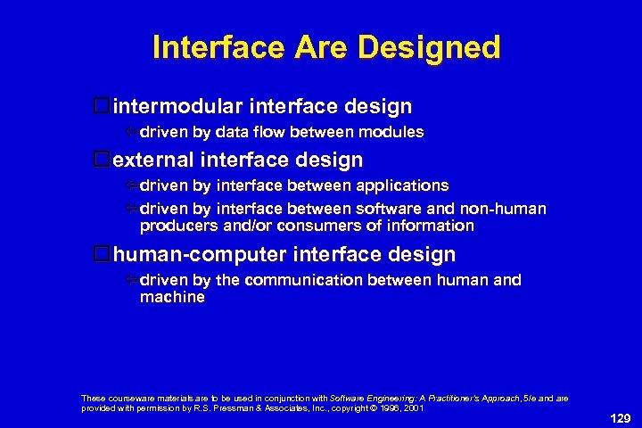Interface Are Designed intermodular interface design driven by data flow between modules external interface