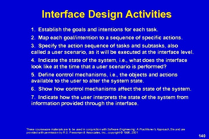 Interface Design Activities 1. Establish the goals and intentions for each task. 2. Map