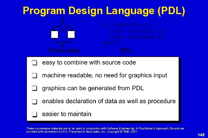 Program Design Language (PDL) These courseware materials are to be used in conjunction with