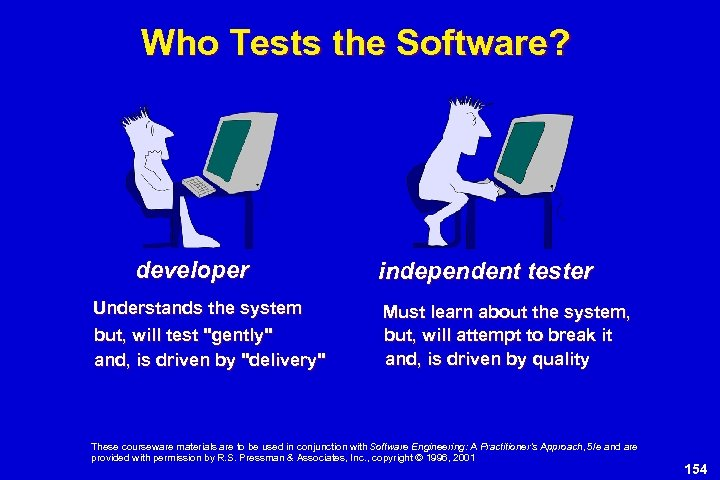 Who Tests the Software? developer Understands the system but, will test