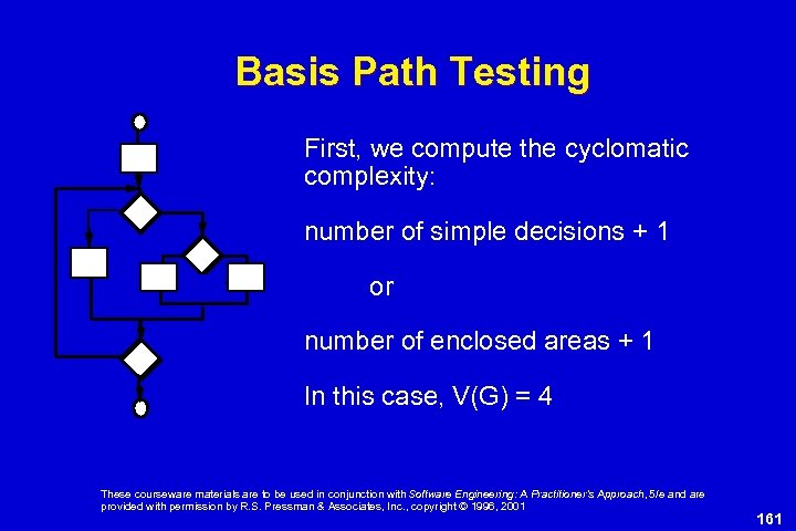 Basis Path Testing First, we compute the cyclomatic complexity: number of simple decisions +