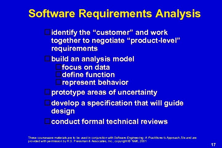 """Software Requirements Analysis identify the """"customer"""" and work together to negotiate """"product-level"""" requirements build"""
