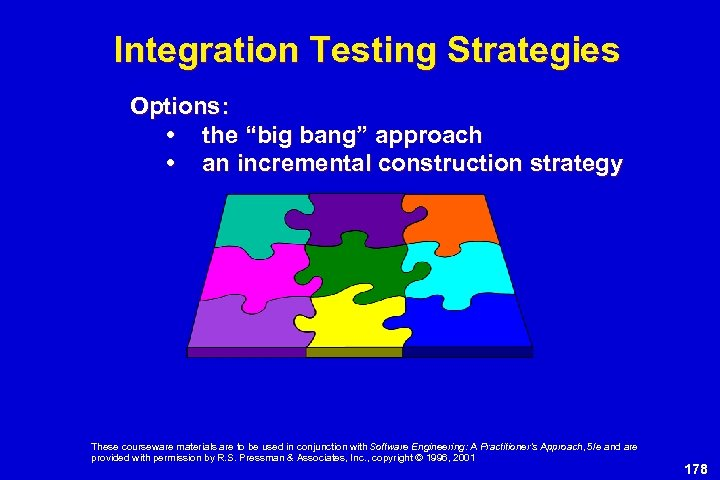 """Integration Testing Strategies Options: • the """"big bang"""" approach • an incremental construction strategy"""