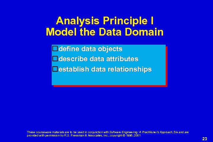 Analysis Principle I Model the Data Domain define data objects describe data attributes establish