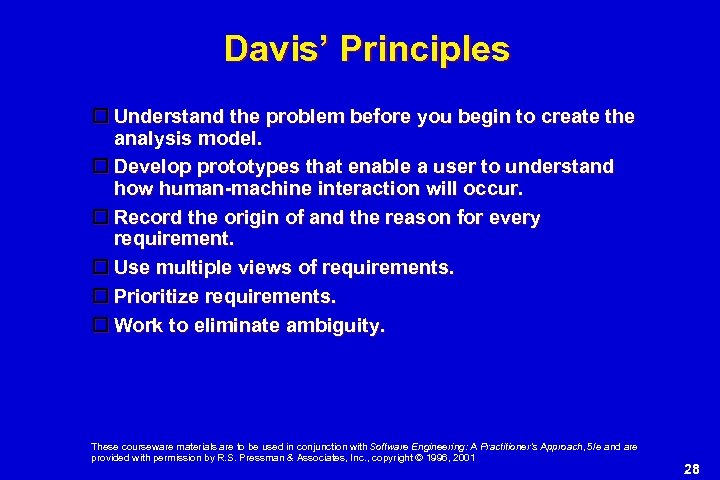 Davis' Principles Understand the problem before you begin to create the analysis model. Develop