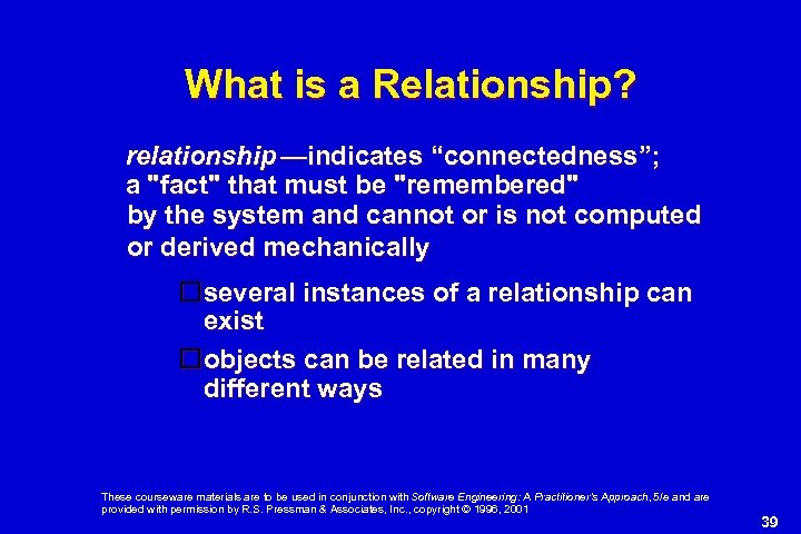 """What is a Relationship? relationship —indicates """"connectedness""""; a"""