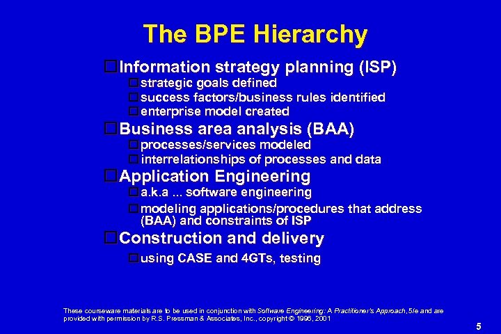 The BPE Hierarchy Information strategy planning (ISP) strategic goals defined success factors/business rules identified