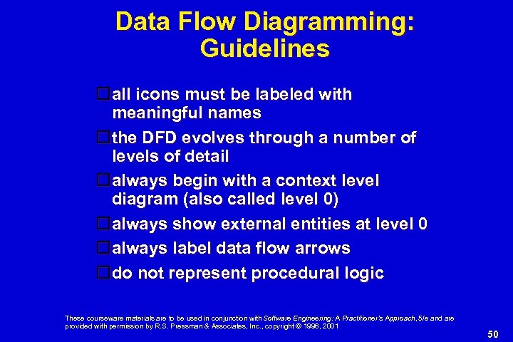 Data Flow Diagramming: Guidelines all icons must be labeled with meaningful names the DFD