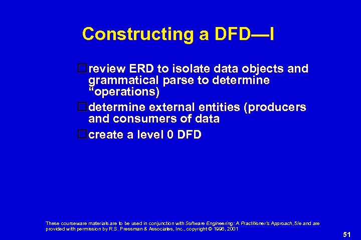 Constructing a DFD—I review ERD to isolate data objects and grammatical parse to determine