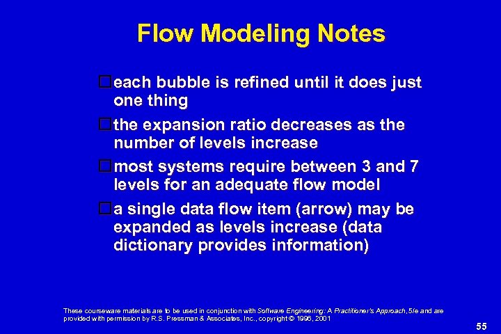 Flow Modeling Notes each bubble is refined until it does just one thing the