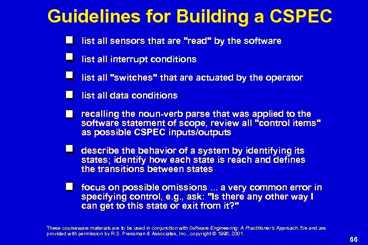 Guidelines for Building a CSPEC list all sensors that are