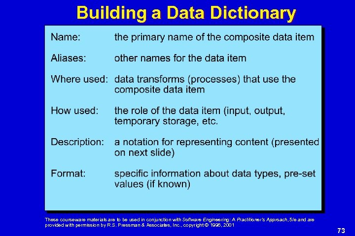 Building a Data Dictionary These courseware materials are to be used in conjunction with