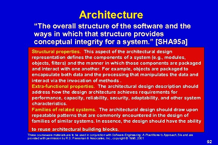 """Architecture """"The overall structure of the software and the ways in which that structure"""