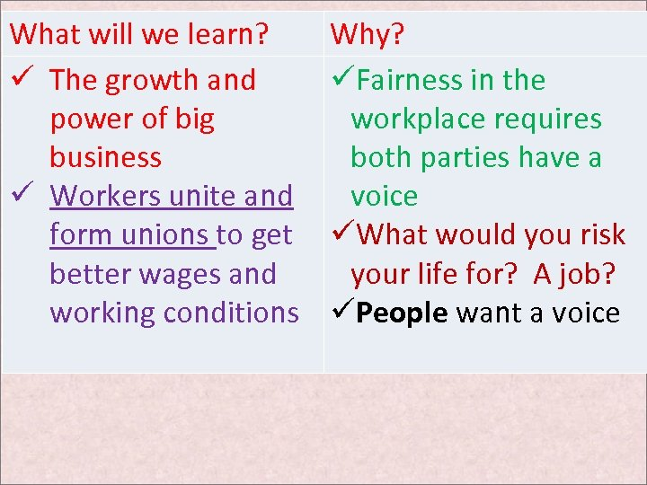 What will we learn? ü The growth and power of big business ü Workers