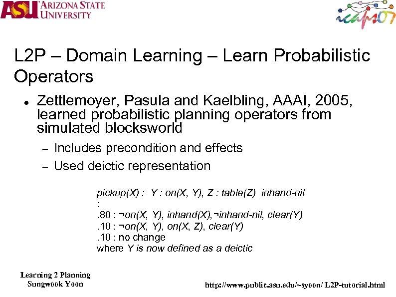 L 2 P – Domain Learning – Learn Probabilistic Operators Zettlemoyer, Pasula and Kaelbling,