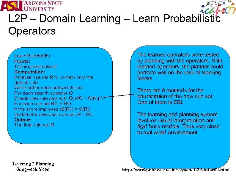 L 2 P – Domain Learning – Learn Probabilistic Operators Learn. Rule. Set(E) Inputs: