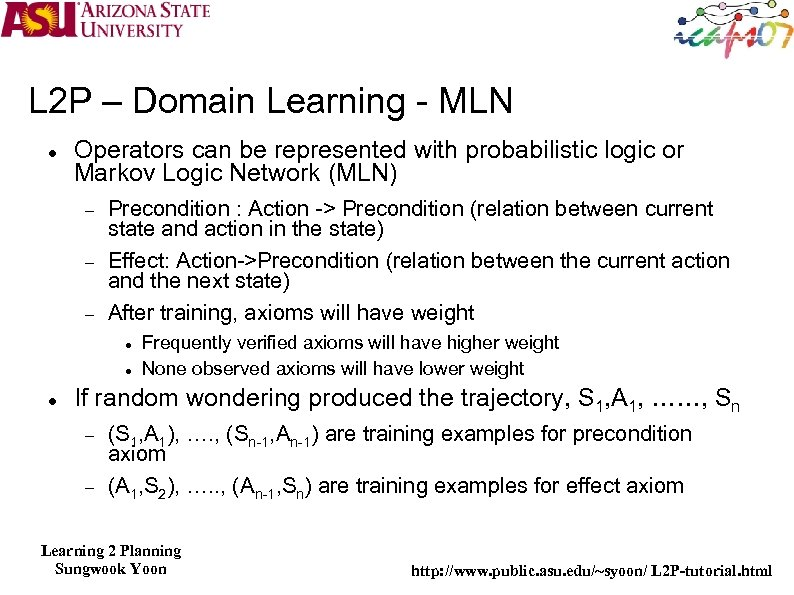 L 2 P – Domain Learning - MLN Operators can be represented with probabilistic