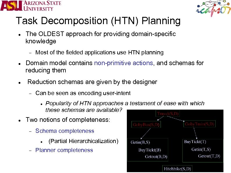 Task Decomposition (HTN) Planning The OLDEST approach for providing domain-specific knowledge Most of the
