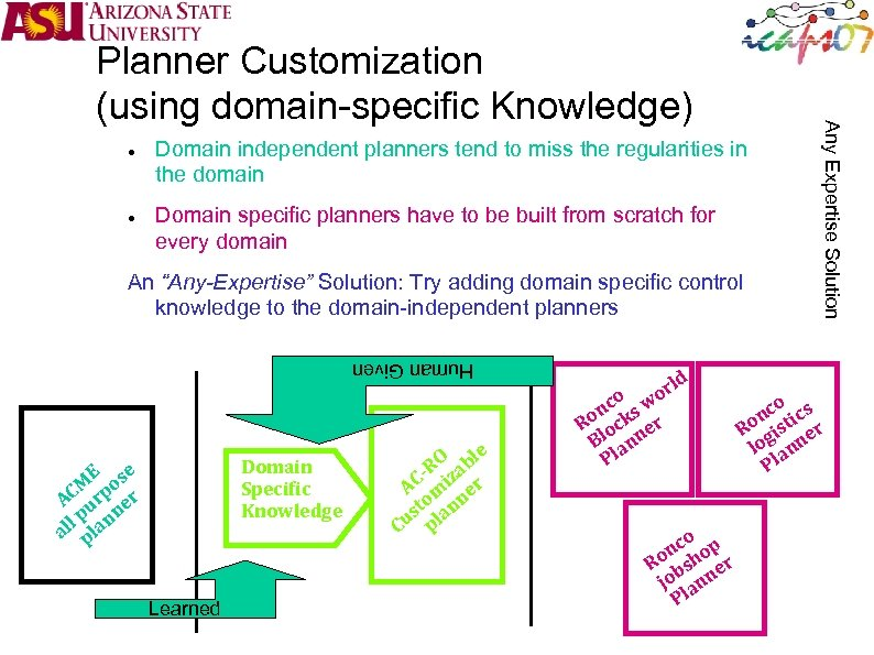 Domain independent planners tend to miss the regularities in the domain Domain specific
