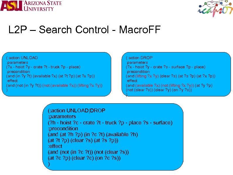 L 2 P – Search Control - Macro. FF (: action UNLOAD : parameters