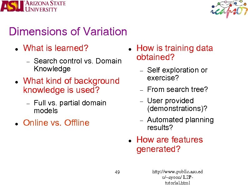 Dimensions of Variation What is learned? Search control vs. Domain Knowledge How is training