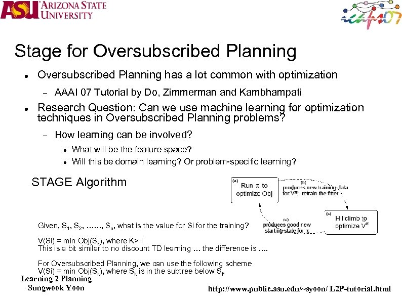 Stage for Oversubscribed Planning has a lot common with optimization AAAI 07 Tutorial by