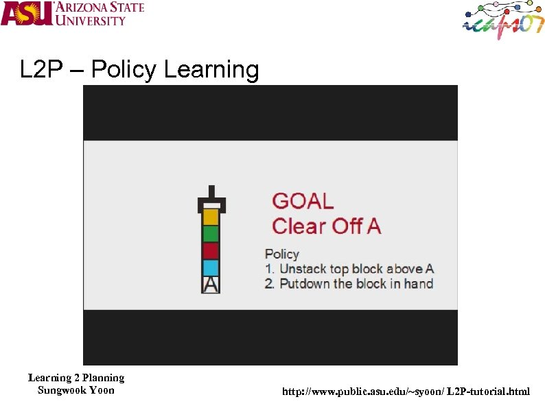 L 2 P – Policy Learning 2 Planning Sungwook Yoon http: //www. public. asu.