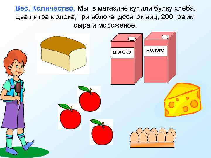 Вес. Количество. Мы в магазине купили булку хлеба, два литра молока, три яблока, десяток
