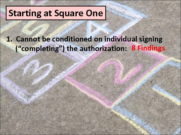 """Starting at Square One 1. Cannot be conditioned on individual signing (""""completing"""") the authorization:"""