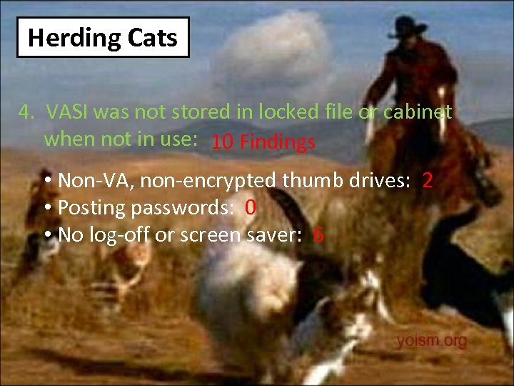 Herding Cats 4. VASI was not stored in locked file or cabinet when not