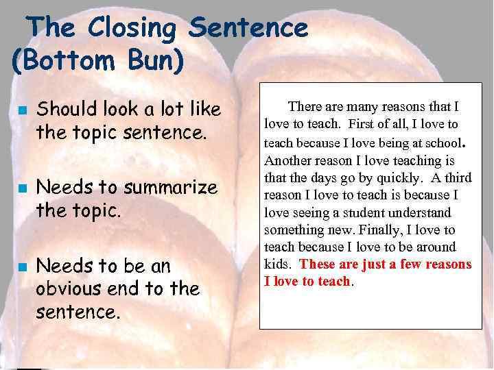 The Closing Sentence (Bottom Bun) n n n Should look a lot like the