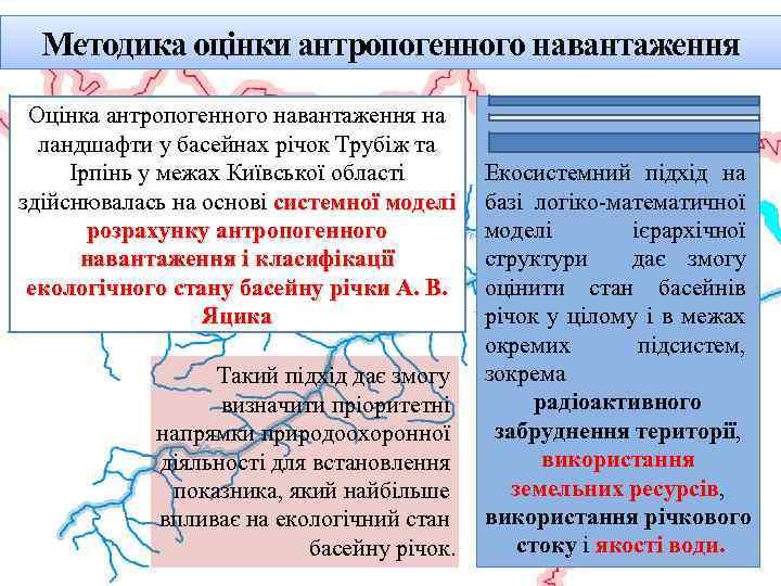 Методика оцінки антропогенного навантаження Оцінка антропогенного навантаження на ландшафти у басейнах річок Трубіж та