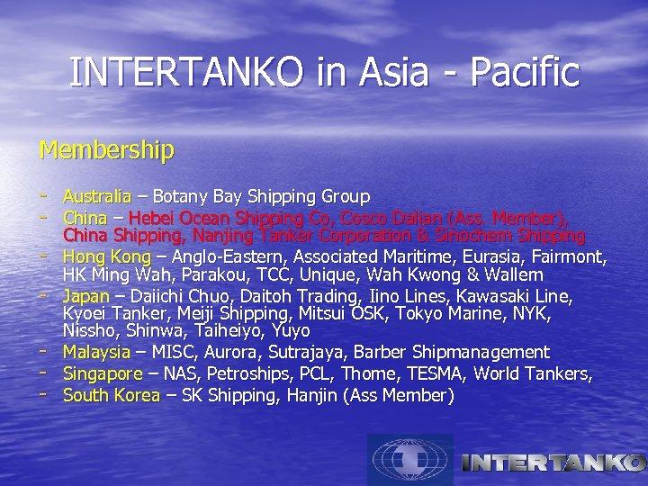 INTERTANKO in Asia - Pacific Membership - Australia – Botany Bay Shipping Group -
