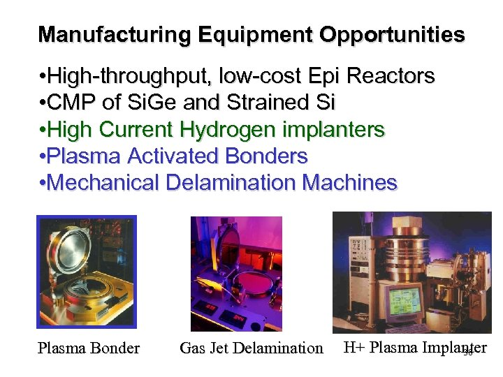 Manufacturing Equipment Opportunities • High-throughput, low-cost Epi Reactors • CMP of Si. Ge and