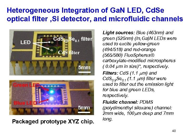 Heterogeneous Integration of Ga. N LED, Cd. Se optical filter , Si detector, and