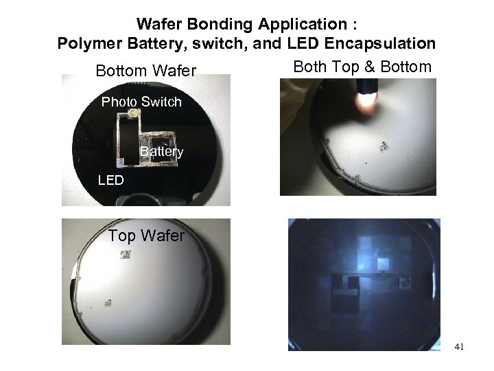 Wafer Bonding Application : Polymer Battery, switch, and LED Encapsulation Both Top & Bottom