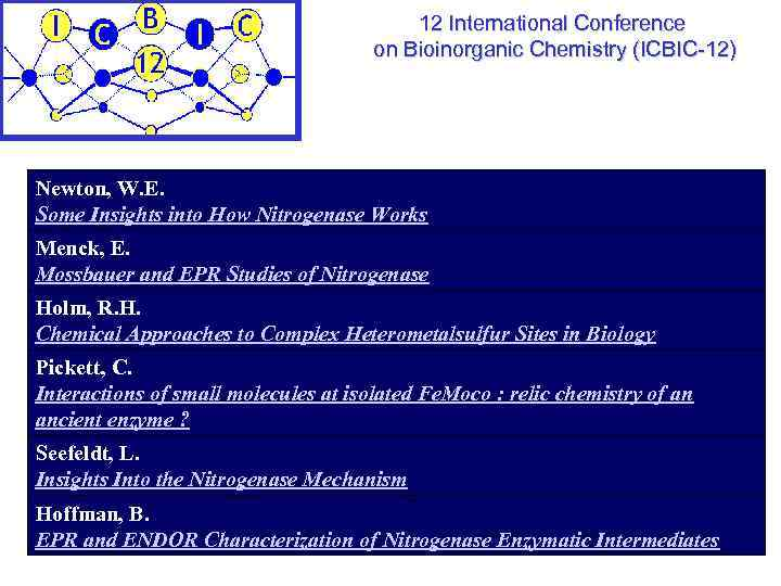 12 International Conference on Bioinorganic Chemistry (ICBIC-12) Newton, W. E. Some Insights into How